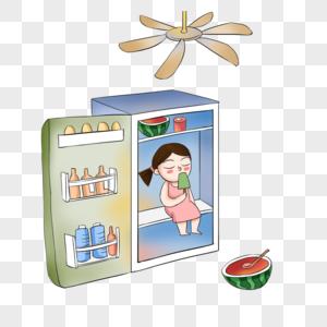 坐在冰箱里的女孩图片