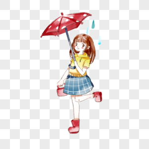 撑伞的小女孩图片