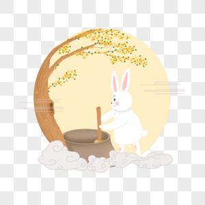 原创兔子捣药图片