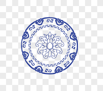 中式青花瓷雕花圆形花纹图片