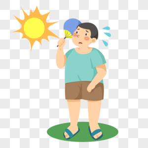 手绘夏天炎热的男人图片