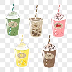 夏日饮品手绘元素图片