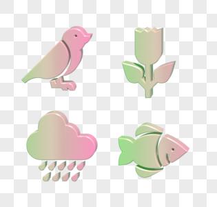 C4D小鸟鱼雨水花图标图片