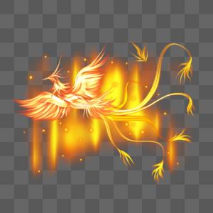 金色火焰凤凰飞翔图片