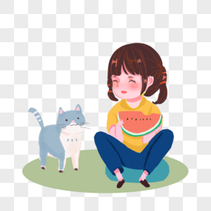 小女孩和猫在吃西瓜图片