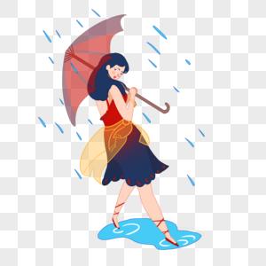 夏日挡雨女孩图片