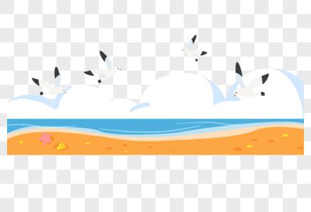 手绘卡通海边装饰花边边框分割线图片