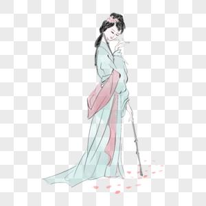 水墨画女子黛玉葬花图片