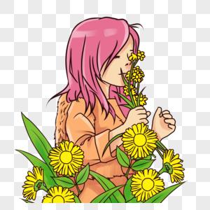 唯美可爱花间女孩图片