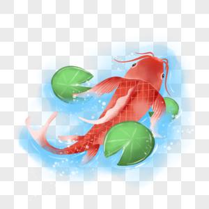 手绘水彩池塘锦鲤图片