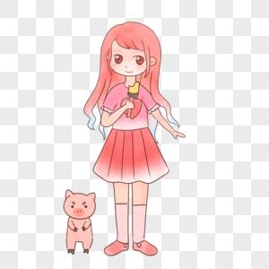 手绘卡通小清新夏天粉色女孩吃冰淇淋小猪图片