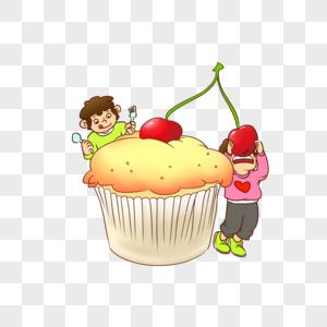 吃樱桃蛋糕图片