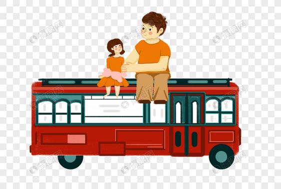 坐在车上的孩子和父亲图片