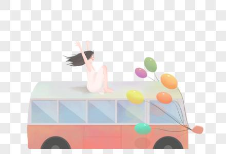 坐在大巴车上的女孩图片