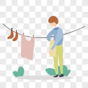 男孩晾晒衣服图片