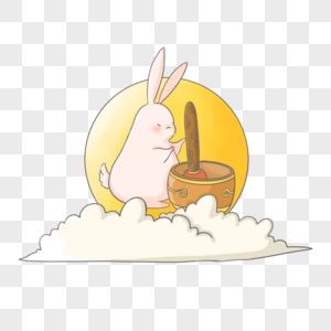 玉兔捣药图片