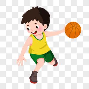卡通男孩运球图片