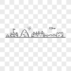 手绘线条城堡分割线图片