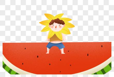 站在西瓜上的男孩图片