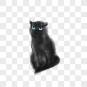 水墨猫咪插画图片