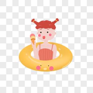 坐在游泳圈中的女孩图片