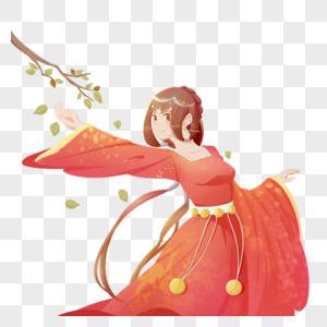 红色国朝中国风侠客半身人像古风跳舞女子图片