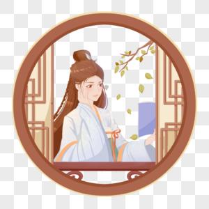白色国朝中国风半身人像古风女子窗前读书图片
