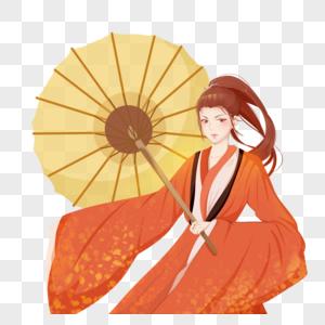 红衣国朝中国风侠客半身人像古风女子帅气撑伞图片