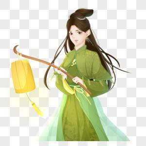 绿色国朝中国风半身人像古风女子打灯笼图片