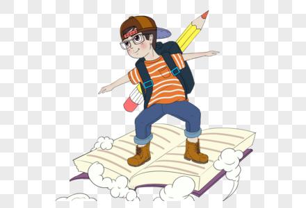 站在书上飞翔的男孩图片