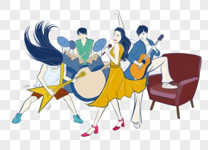 乐队演奏手绘插画元素图片