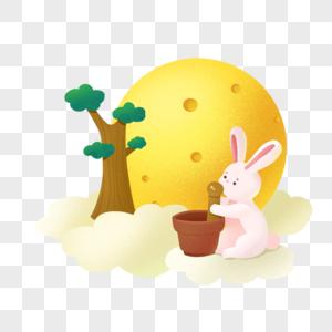 中秋节捣药的玉兔图片