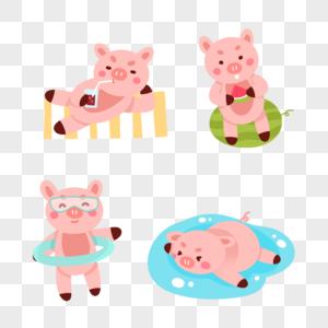 夏日可爱小猪图片