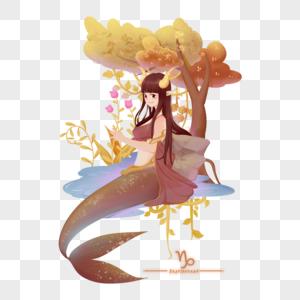棕色十二星座神话魔幻人物摩羯座女孩羊和蝎子图片