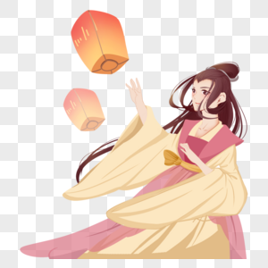 粉色黄色中秋节古代女孩古装美女放灯图片