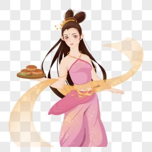 粉色黄色中秋节古代女孩古装美女手持月饼图片