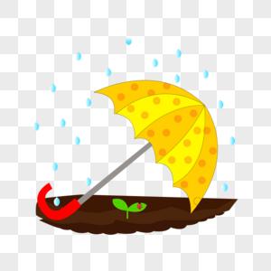 卡通手绘黄色雨伞树苗瓢虫雨点图片