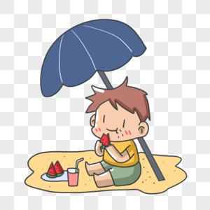 度假游玩的小男孩图片