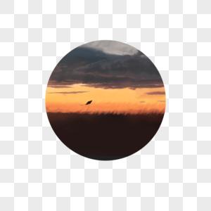 夕阳风筝插画图片