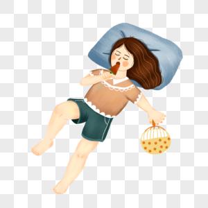 躺着吃雪糕的女孩图片