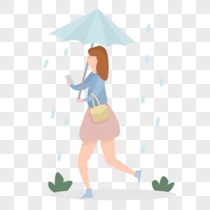 雨天打伞图片