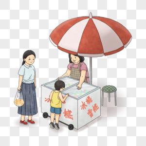 带孩子买冰糕的母亲图片
