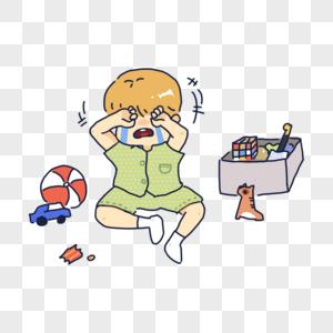 家庭哭泣孩子玩具图片