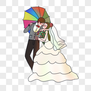 穿婚纱的情侣图片