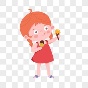 卡通吃冰激凌的女孩图片