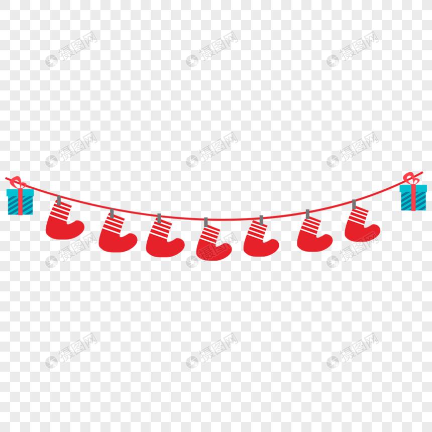 圣诞节袜子礼物彩旗图片