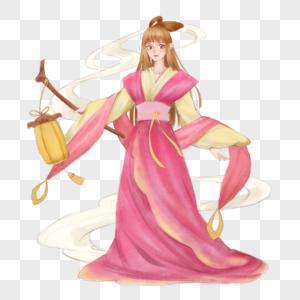 粉色黄色中秋节古代女孩古装美女放灯立绘精美图片