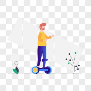 玩平衡车图标免抠矢量插画素材图片