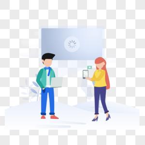 商务交流图标免抠矢量插画素材图片