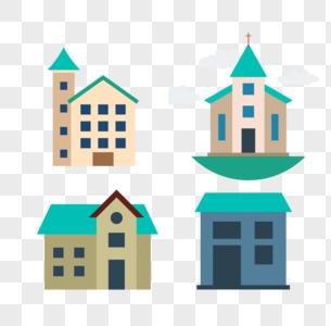 城堡建筑房子矢量图标图片